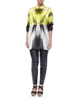 Marina Rinaldi Abstract-Print Shirt/Jacket & Faux-Leather Slim-Fit Pants, Women's