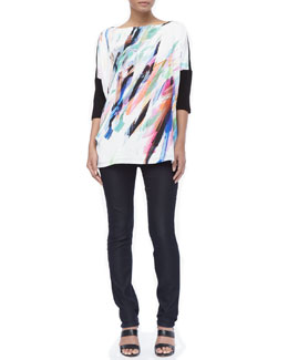 Marina Rinaldi Victoria Painterly Half-Sleeve Tee & Rubino High-Waist Super Slim Pants, Women's