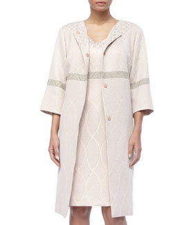 Marina Rinaldi 3/4-Sleeve Deco Torta Coat & Detachable-Sleeve Dress, Women's