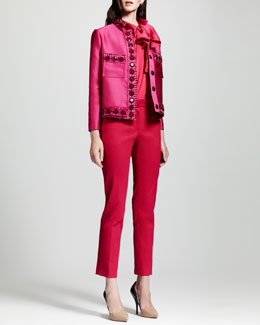 Lanvin Crystal-Embellished Duchesse Jacket, Tie-Neck Sleeveless Blouse & Straight-Leg Ankle Pants