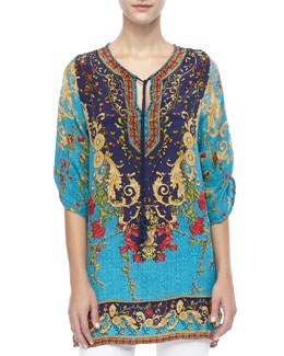 Tolani Chloe Floral and Multi-Print Long Tunic