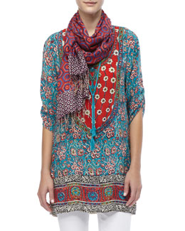 Tolani Sarita Printed Silk Tunic & Illusion Printed Silk Scarf