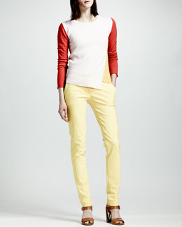 Stella McCartney Asymmetric Colorblock Cashmere Sweater & Skinny Stretch Cotton Pants
