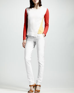 Stella McCartney Asymmetric Colorblock Cashmere Sweater & Skinny Front-Closure Pants