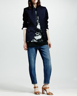 Stella McCartney Stand-Collar One-Button Blazer, Lion-Print Sleeveless Tee & Zip-Ankle Boyfriend Jeans