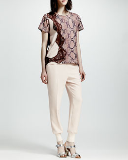 Stella McCartney Lace-Trim Python-Print Tee & Cuffed Harem Pants