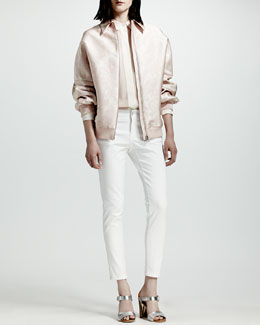 Stella McCartney Paisley Jacquard Bomber Jacket, Covered-Placket Silk Blouse & Four-Pocket Jeans