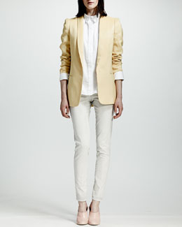 Stella McCartney Tailored One-Button Jacket, Lace-Collar Blouse & Four-Pocket Acid Wash Jeans