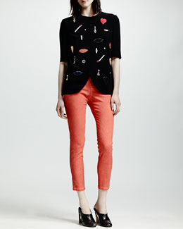 Stella McCartney Beaded Stretch Cady Tulip-Hem Top & Four-Pocket Cropped Jeans
