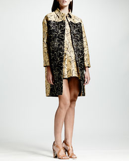 Stella McCartney Two-Tone Python Jacquard Coat & Python-Print Flounce Dress