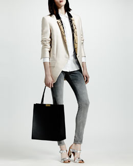 Stella McCartney Python-Print-Lapel Blazer, Cotton Poplin Blouse & Skinny Degrade Jeans