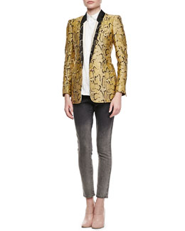 Stella McCartney One-Button Snake-Print Blazer, Cotton Poplin Blouse & Skinny Degrade Jeans