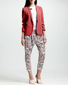 Stella McCartney Skinny-Lapel One-Button Blazer, Applique-Embellished Tee & Paisley-Print Harem Pants