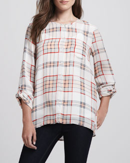 Joie Kariana Long-Sleeve Plaid Blouse & Coraline Slub-Knit Camisole