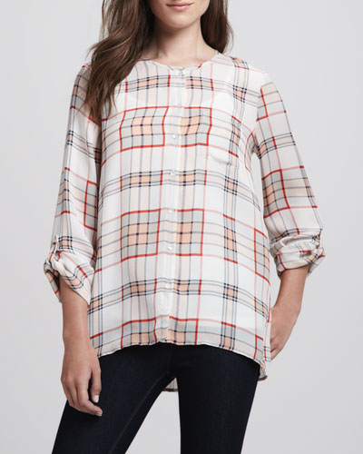 Joie Kariana Long-Sleeve Plaid Blouse & Coraline Slub-Knit Camisole