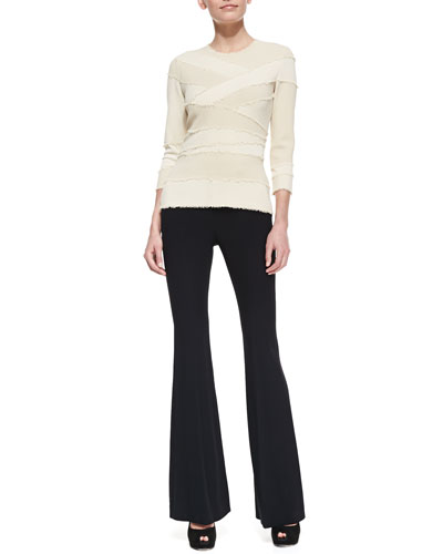 Alexander McQueen 3/4-Sleeve Frayed Bandage Top and High-Waist Flare Pants