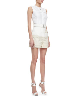 Alexander McQueen Fitted Sleeveless Poplin Blouse & Bumster Shorts