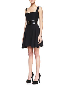 Alexander McQueen Square-Neck Full-Skirt Dress & Deco Metallic Leather Belt