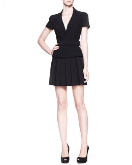 Alexander McQueen Belted Short-Sleeve Jacket & High-Waist Pleated Skirt