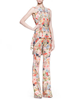 Alexander McQueen Floral-Print High-Low Top & Tabbed Pants