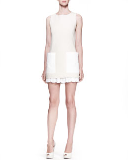 Alexander McQueen Pleated Sangallo Lace Skirt & Contrast-Patch-Pocket Tunic