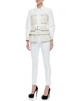 Alexander McQueen Two-Tone Utility Jacket and Tonal-Side Skinny Jeans