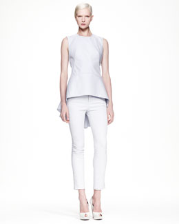 Alexander McQueen High-Low Pique Top & Low-Rise Cropped Jeans