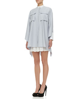 Alexander McQueen Oversized Buttoned Pique Cargo-Pocket Tunic & Pleated Sangallo Lace Skirt