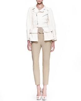 Alexander McQueen High-Low-Hem Leather Biker Jacket, Scalloped-Lace-Peplum Top & Skinny Side-Zip Pants