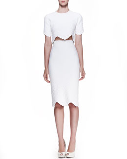 Alexander McQueen Embossed Crop Top & High-Waist Embossed Pencil Skirt