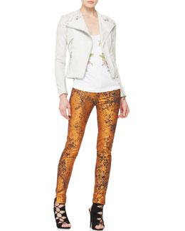 McQ Alexander McQueen Shrunken Leather Jacket, Rose-Embroidered Tank & Metallic Skinny Jeans