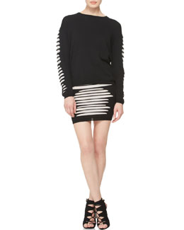 McQ Alexander McQueen Slashed-Knit Pullover & Fitted Skirt