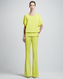 St. John Collection Short-Poncho-Sleeve Blouse & Boot-Cut Trouser Pants, Chartreuse