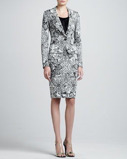 St John Collection Floral Jacquard Knit Jacket and Pencil Skirt