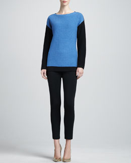 St. John Collection Long-Sleeve Colorblock Sweater & Milano Knit Alexa Slim Ankle Pants