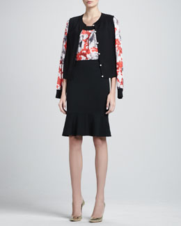 St. John Collection Floral-Sleeve Cardigan, Sleeveless Floral Blouse & Milano Flounce Pencil Skirt