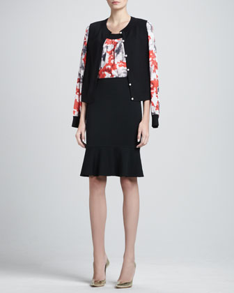 Floral-Sleeve Cardigan, Sleeveless Floral Blouse & Milano Flounce Pencil Skirt
