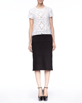 Short-Sleeve Lace Shirt and Tailored Lace Midi Skirt