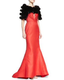 J. Mendel Strapless Bustier Gown, Siren Red & Cropped Shadow Fox Fur Stole, Black