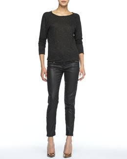 Current/Elliott The Letterman Speckled Sweater & Soho Coated-Denim Stiletto Pants