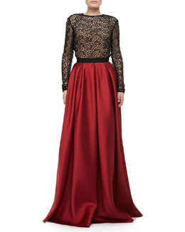 Carmen Marc Valvo Long-Sleeve Lace Top & Satin Pocket Ball Skirt