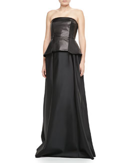 Carmen Marc Valvo Leather Peplum Bustier & Satin Ball Skirt
