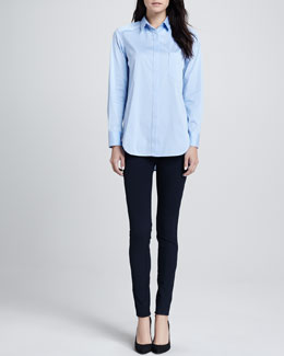 Theory Fedele Button-Front Blouse & Fia Stretch-Wool Pants