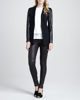 Theory Lavey Leather-Sleeve Blazer, Lyalka Layered Georgette Blouse & Redell Side-Zip Leather Pants