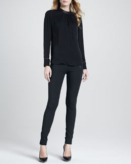 Theory Kyna Leather-Trim Blouse & Redell Side-Zip Skinny Pants