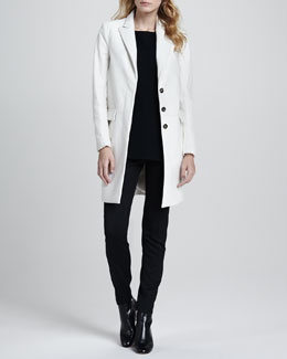 Theory Lavanya Calf-Hair Coat, Toska Sheer-Sleeve Blouse & Fia Stretch-Wool Pants