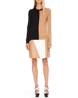 Michael Kors  Colorblock Wool Sweater, Leather Skirt & Carmela Clear-Heel Wedge