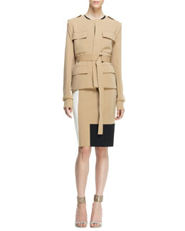 Reed Krakoff Belted Safari Jacket and Sleeveless Colorblock Sheath