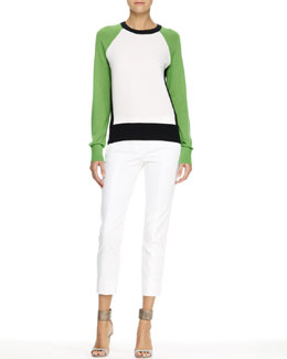 Reed Krakoff Colorblock Knit Baseball Tee and Tuxedo-Stripe Capri Pants