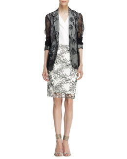 Reed Krakoff Embroidered Sheer Gauze Jacket, Sleeveless Front-Fold Shirt & Embroidered Grid Pencil Skirt